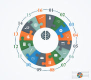 Parts puzzles in the form of a circle of the 16 pieces. Template design infographic banner, presentation, education, web and mobile apps Royalty Free Stock Photography