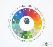 Parts puzzles in the form of a circle of the 16 pieces. Template design infographic banner, presentation, education, web and mobile apps Stock Photos