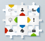Parts puzzles with icons. Business concept, infogr Royalty Free Stock Photos