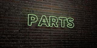 PARTS -Realistic Neon Sign on Brick Wall background - 3D rendered royalty free stock image. Can be used for online banner ads and direct mailers Stock Photography