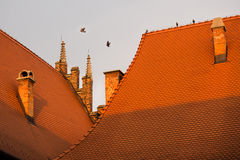 Parts of the red roof of a medieval building in Europe Stock Photography