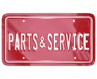 Parts and Service License Plate Automotive Car Repair Shop. A blue license plate with the words Parts and Service to advertise a collision body shop or garage Stock Photo