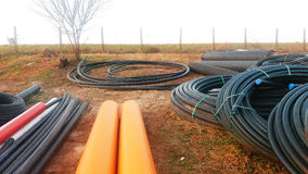 The parts for sewer water drain, pipes Stock Photos