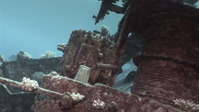 Parts of sunken ship Salem Express underwater in the Red Sea in Egypt. Extreme tourism on the ocean floor in the world of coral reefs, fish, sharks stock footage