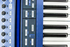 Parts of synth keyboards Royalty Free Stock Photo