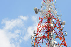 Parts of telecommunication tower with blue sky Stock Photos