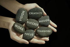 The parts to success. Written on the rock Stock Images