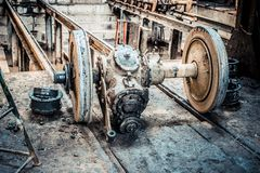 Parts of tram. One wheel. Royalty Free Stock Photography