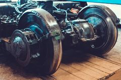 Parts of tram. Wheels Royalty Free Stock Images