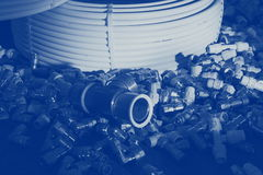 Parts and tubes. Instalation parts, pipes and tubes Stock Image