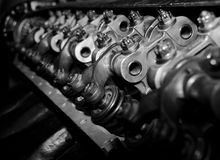 Parts of WWII aircraft engine in B&W. Parts of WWII aircraft engine in B&W in a aviation museum Stock Photos