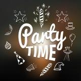 Party время с элементами нарисованными рукой, иллюстрация вектора Стоковое Изображение