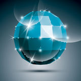 Party голубой лоснистый шарик зеркала 3D созданный от геометрических диаграмм Стоковая Фотография RF
