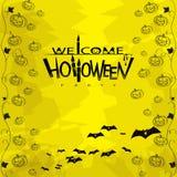 Party приглашение хеллоуин с тыквами, летучими мышами и Стоковые Фотографии RF