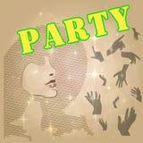 Party плакат Дизайн вектора предпосылки партии Плакат с горячей девушкой Стоковое Фото