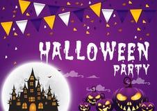 Party счастливый хеллоуин на предпосылке с флагами и домом охотника Стоковые Фотографии RF