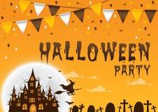 Party счастливый хеллоуин на предпосылке с флагами и домом охотника Стоковое Изображение RF