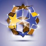 Party фиолетовый лоснистый шарик зеркала 3D с звездами и кубами вектор Стоковая Фотография