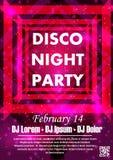 Party шаблон плаката вектора с sparkles и ярким блеском, световым эффектом зарева Стоковая Фотография RF