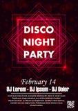 Party шаблон плаката вектора с sparkles и ярким блеском, световым эффектом зарева Стоковое Изображение