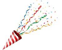 Party шутиха с confetti и лента на белой предпосылке Стоковая Фотография