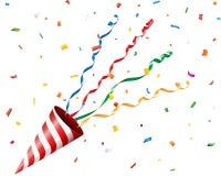 Party шутиха с confetti и лента на белой предпосылке Стоковые Изображения