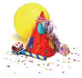 Party. Hat, baloon, noisemaker, confetti on white Royalty Free Stock Images