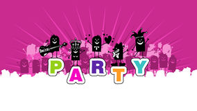 Party. Hand drawn cartoon people and  word Royalty Free Stock Photography