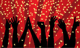 Party. Vector festive background with silhouette of hands Stock Photos
