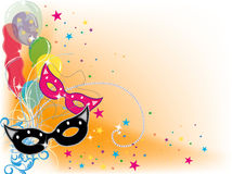 Party. Design with ballons, confetti, vibrant colors Royalty Free Stock Image