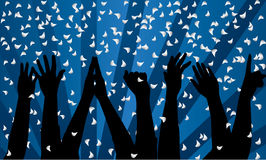 Party. Vector festive background with silhouette of hands Stock Images
