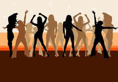 Party. Silhouettes of a nice young girls having party Royalty Free Stock Images