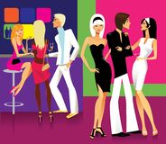 On a party. Vector illustration of a glamour young people on a party Stock Images