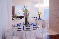 Party. Table set for a birthday party with hors d'oeuvres at a Hotel in Hollywood Fl Stock Image