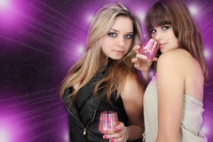 Party. Two beautiful young women on the party Stock Photography