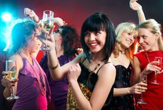 Party. Portrait of happy young girls on the party royalty free stock photos