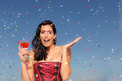 Party. Woman celebrating at party drinking cocktail Royalty Free Stock Image