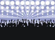 Party. Dancing youth with the lifted hands on a dark blue background with strips and circles Royalty Free Stock Photo