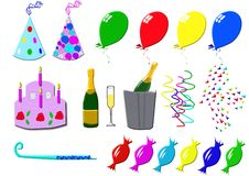 Party. Icons with balloons and bonbons Royalty Free Stock Photography