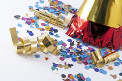 Party. Hat, confetti and streamer on white Royalty Free Stock Images