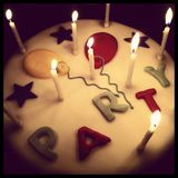 PARTY!. Birthday and/or celebration cake with candles Stock Photography