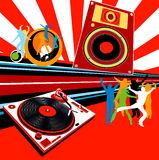 Party. Silhouettes dancing, turntable, loudspeaker and rays Stock Image