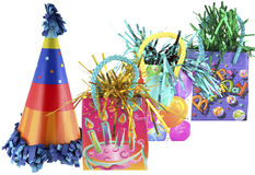 Party 5. Isolated party bags and cute birthday party hat Royalty Free Stock Image