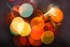 Party abstract bokeh light background, blurred round festive circles royalty free stock photo