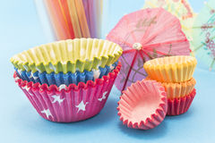 Party accessories on a blue background Royalty Free Stock Photography