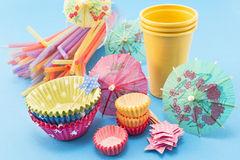 Party accessories on a blue background Stock Images