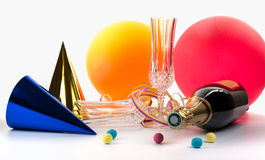 Party accessories and Champagne. Party accessories for New Year Eve, birthday party Royalty Free Stock Photography
