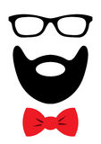 Party accessories set - glasses, mustache, bow Royalty Free Stock Photo