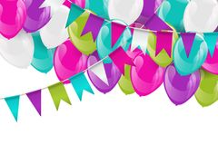Party background with paper colorful bunting flags. Party ackground with paper colorful bunting flags garland, glossy helium balloons and soaring confetti Stock Photography
