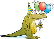 Party Alligator on White Background Stock Photo